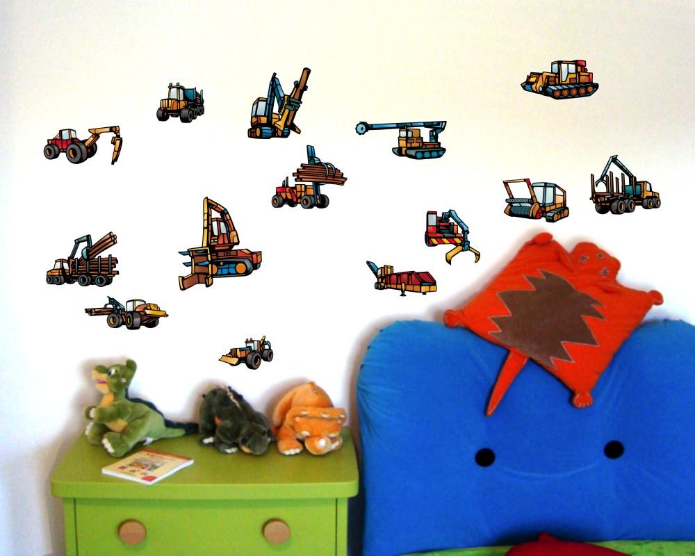 46-teiliges traktor riesen kinderzimmer wandtattoo set - kiddikiste