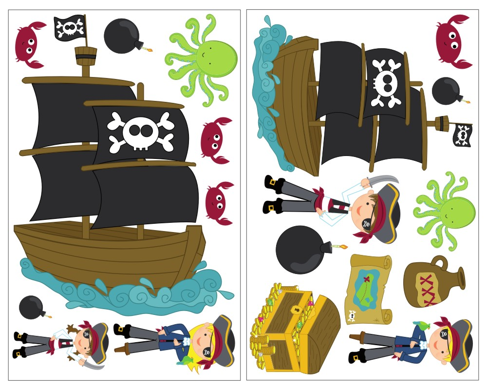 Wandtattoo Kinderzimmer Piratenschiff | 19 Teiliges Piraten Kinderzimmer Wandtattoo Set Kiddikiste