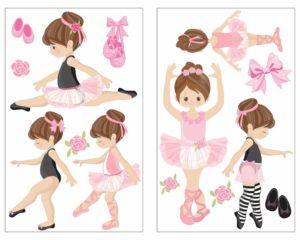 14-teiliges 'Rosa Ballerina Mädchen' Wandtattoo Set