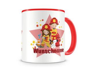 Tasse mit einem Feuerwehrmann als Motiv
