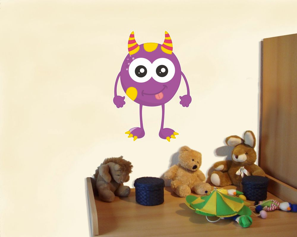 Wandtattoo lila monster als babyzimmer deko kiddikiste - Wandtattoo lila ...